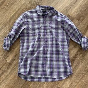 APT.9 purple button down EUC Medium